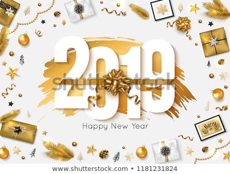 Happy new year or glitter vacances coffret cadeau un message Photo stock © cienpies