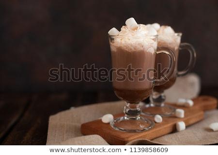 Eigengemaakt donkere warme chocolademelk voedsel fotografie hout Stockfoto © Peteer