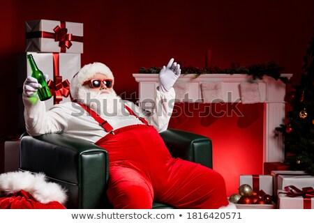 サンタクロース ビール 孤立した ドリンク 楽しい 子供 ストックフォト © ori-artiste