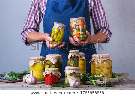Marinated preserving jars. Fermented food Stock photo © artsvitlyna