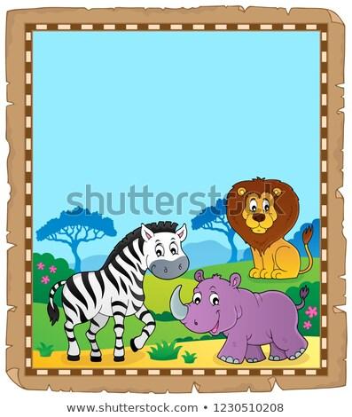 Parşömen Afrika hayvanlar kâğıt sanat aslan Stok fotoğraf © clairev