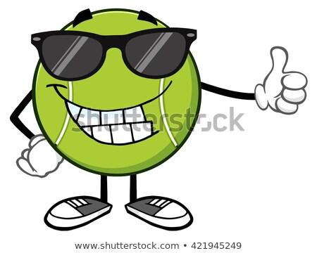 Souriant balle de tennis mascotte dessinée personnage lunettes de soleil pouce Photo stock © hittoon