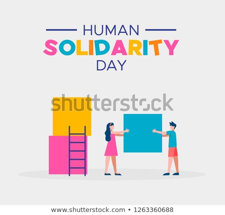Human Solidarity Day card of kids helping together Stock photo © cienpies