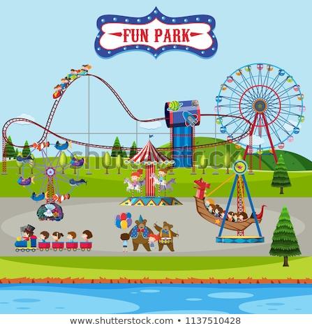 Stockfoto: Kinderen · paardrijden · trein · landschap · tuin · achtergrond