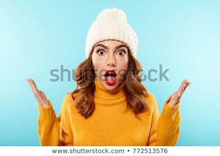 alegre · animado · surpreendido · mulher · jovem · isolado · belo - foto stock © deandrobot