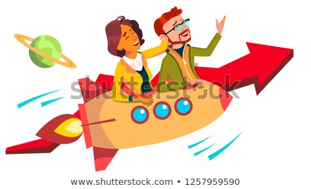 Teamwork And Leader Vector. Team Of Female And Male Businessmen Riding Rocket And Flying Up Together Stock photo © pikepicture