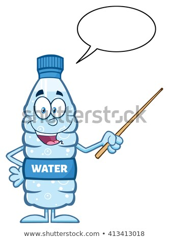Foto stock: Talking Water Plastic Bottle Cartoon Mascot Character Using A Pointer Stick With Speech Bubble