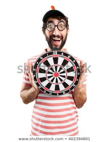 Vicces férfiak darts test háttér fehér Stock fotó © Massonforstock