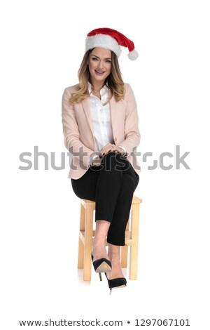 Okos lezser nő visel mikulás sapka Stock fotó © feedough