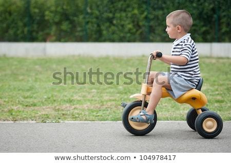çocuklar · üç · tekerlekli · bisiklet · atış · çimenli · çim - stok fotoğraf © galitskaya