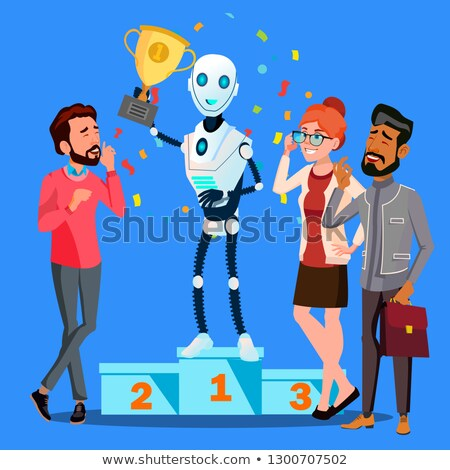 Robot Winner Stands On First Place Of Podium Among People Vector. Isolated Illustration Stock photo © pikepicture