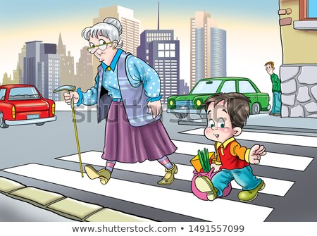 Boy Helping Old Lady Crossing Street Illustration Stock photo © artisticco