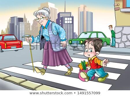 Jongen helpen oude dame straat illustratie weg Stockfoto © artisticco