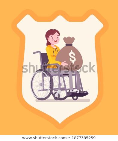 Cartoon girl in a wheelchair holding a sign. stock photo © bennerdesign