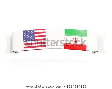 Afiş iki kare bayraklar Amerika Birleşik Devletleri İran Stok fotoğraf © MikhailMishchenko