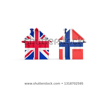 Two houses with flags of United Kingdom and norway Stock photo © MikhailMishchenko