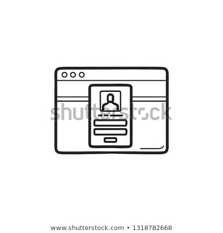 Sperre Kennwort Browser Fenster Hand gezeichnet Gliederung Stock foto © RAStudio