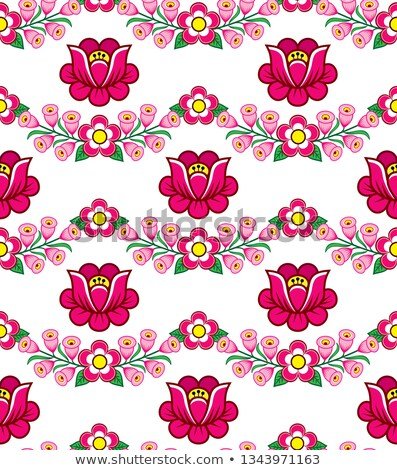 Stock photo: Seamless floral Polish folk art vector pattern, cute traditional ornaments with flowers from Zalipie