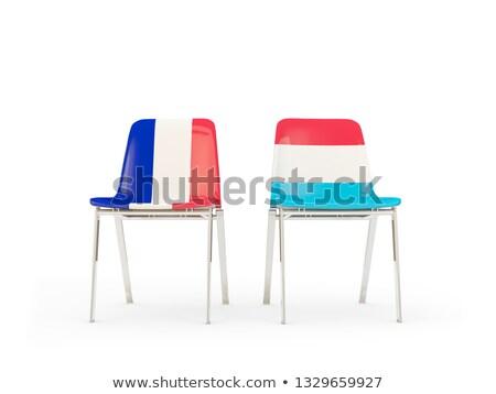 Dwa krzesła flagi Francja Luksemburg odizolowany Zdjęcia stock © MikhailMishchenko