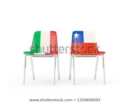 Kettő székek zászlók Olaszország Chile izolált Stock fotó © MikhailMishchenko
