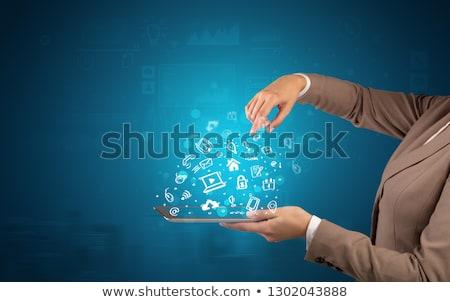 手 · グローバル · ビジネス · ネットワーク · 通信 · 雲 - ストックフォト © ra2studio
