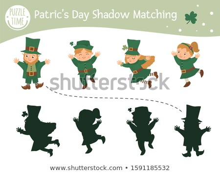 shadow matching game with happy cartoon Leprechaun for children Stock photo © Natali_Brill