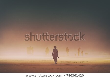 Woman at the beach in a moody sunset Stock photo © Kzenon