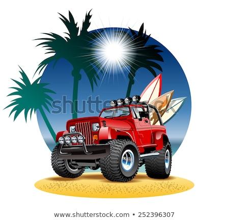 Vector Cartoon 4x4 Car On Beach Isolated Stock fotó © Mechanik