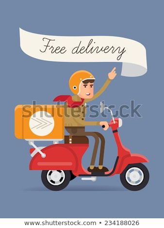 vector cartoon delivery cargo scooter isolated on white stock photo © mechanik