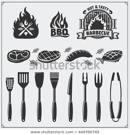 барбекю · Допрос · инструментом · щипцы · мяса - Сток-фото © olllikeballoon