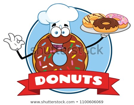 Chef Donut Cartoon Character With Sprinkles Circle Label With Text Stock photo © hittoon