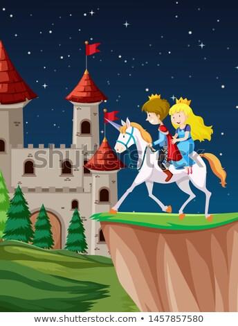 Herceg hercegnő lovaglás jelenet illusztráció természet Stock fotó © bluering