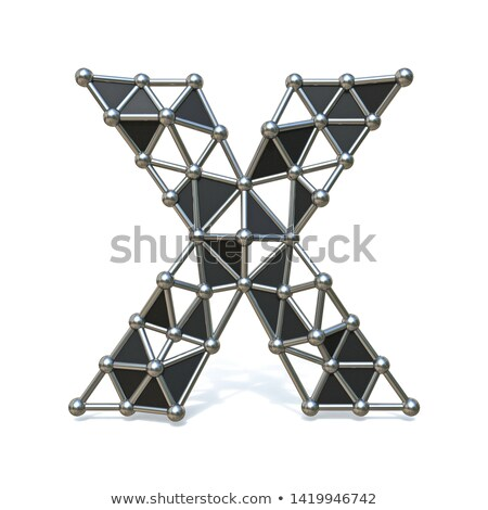 Wire low poly black metal Font Letter X 3D Stock photo © djmilic