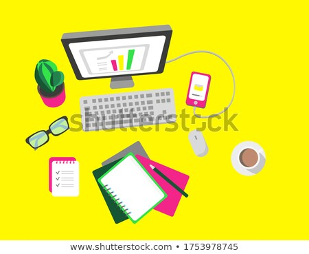 Devices For Work Or Education Flat Lay Vector Stock photo © pikepicture
