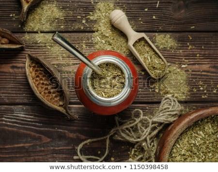Stuurman thee houten tafel hout achtergrond drinken Stockfoto © grafvision