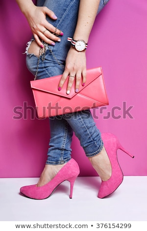 Ladies' watch, high heels shoes and handbag Stock photo © restyler