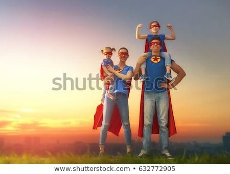 Stok fotoğraf: Super Hero Family - Mom Daddy And Children