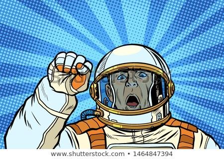Zły astronauta kosmonauta wiecu odporność wolności Zdjęcia stock © studiostoks
