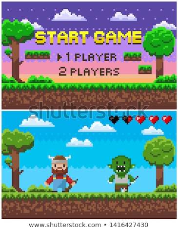 Screen of Pixel Game, Knight Hero and Geek Vector Stock photo © robuart