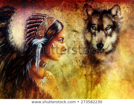 Native American Woman Wearing Wolf Headdress Stock photo © patrimonio