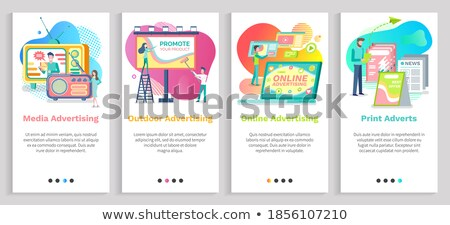 Nyomtatott weboldal emberek újság vektor olvas Stock fotó © robuart
