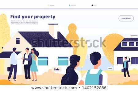 Huis verkoop landing pagina echtpaar zoeken Stockfoto © RAStudio