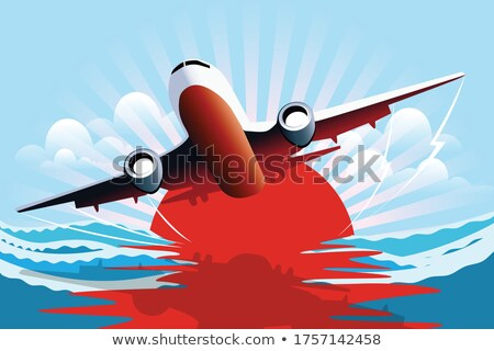 Jet liner over the sea at sunset Stock photo © moses