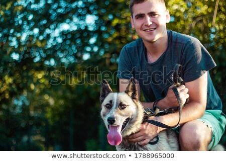 Formation chien de chasse spéciale homme heureux Photo stock © jossdiim
