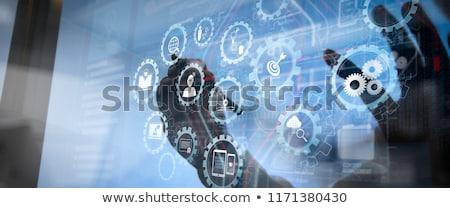 Tablet cog versnellingen digitale composiet hemel Stockfoto © wavebreak_media
