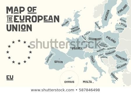 Stockfoto: Europese · unie · Europa · poster · kaart · land