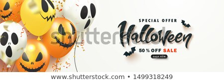 halloween sale banner with ghosts and flying bats Stock photo © SArts