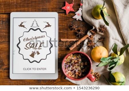 Noël touchpad boire épices décorations page d'accueil Photo stock © pressmaster