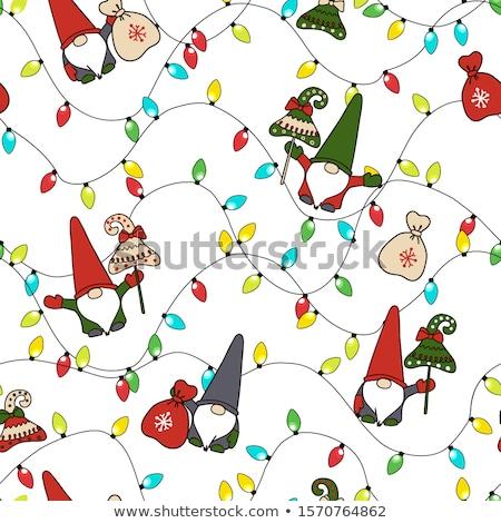 Chritmas seamless pattern with gnomes Stock photo © balasoiu