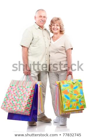 idős · nő · bevásárlótáskák · hitelkártya · boldog · idős · nő - stock fotó © dolgachov
